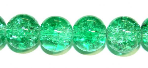 106pcs x 8mm Green glass crackled beads -- 3005026